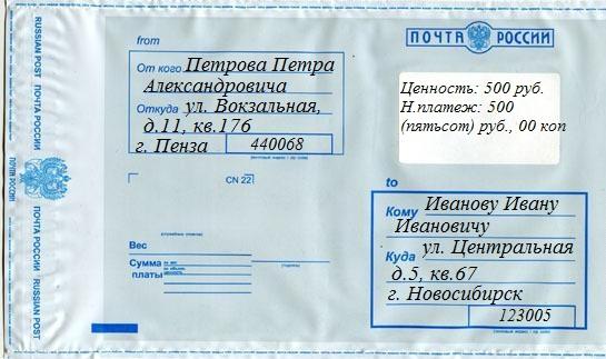 Образец заполнения адреса посылки искренне